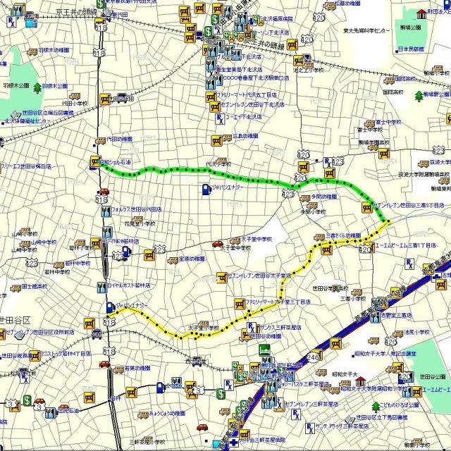 サイクリングコース: 烏山緑道~環七~北沢川緑道